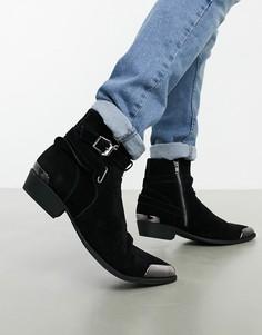Черные ботинки в стиле вестерн из искусственной замши с пряжкой ASOS DESIGN-Черный