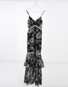 Темно-синее платье макси с годе ицветочным принтом Hope& Ivy-Темно-синий