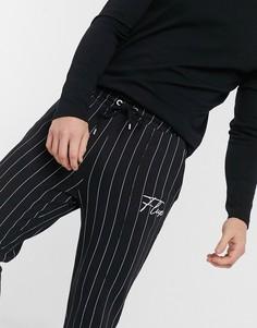 Черные джоггеры скинни с полосками и вышивкой ASOS DESIGN-Черный