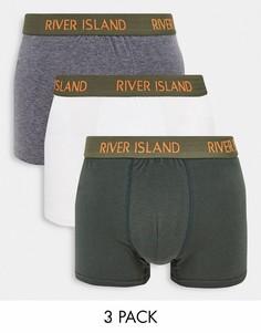 Набор из 3 пар трусов-хипстеров цвета хаки River Island-Зеленый