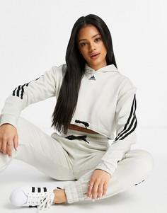 Серый укороченный худи с 3 полосками adidas Training
