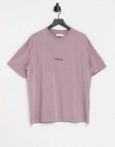 """Фиолетовая футболка с надписью """"Malmo"""" Topman-Фиолетовый цвет"""