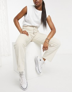 Прямые вельветовые джинсы до щиколотки кремового цвета Levis-Белый