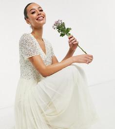 Свадебное платье макси из тюля цвета экрю с V-образным вырезом и элегантной отделкой пайетками в тон Maya Tall-Белый