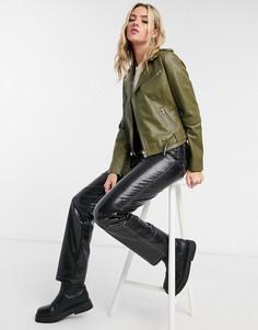Кожаная куртка цвета хаки Barneys Originals Emma-Зеленый цвет
