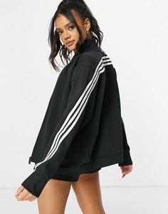 Черная куртка с 3 полосками adidas Training-Черный цвет