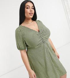 Чайное платье мини в зеленую клетку сосборками New Look Curve-Зеленый цвет