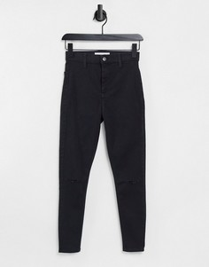 Черные джинсы с рваной отделкой Topshop Joni-Черный