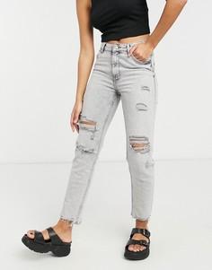 Серые выбеленные джинсы узкого кроя со рваной отделкой Bershka-Серый
