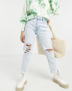 Светло-голубые джинсы в винтажном стиле из органического хлопка со рваной отделкой Bershka-Голубой