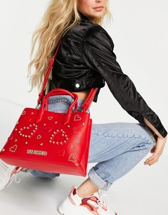 Красная сумка-тоут с рельефной декоративной отделкой Love Moschino-Красный
