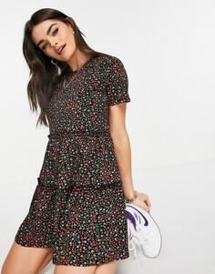 Ярусное платье-футболка мини с присборенной юбкой и цветочным принтом River Island-Многоцветный