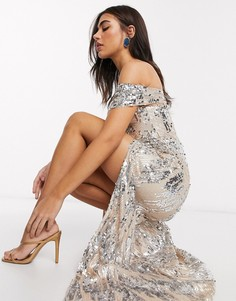 Серебристое платье макси с открытыми плечами и 3D-пайетками Goddiva-Темно-синий
