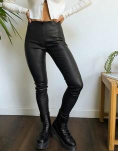Черные леггинсы из натуральной кожи Selected Femme-Черный