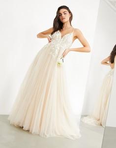 Свадебное платье с глубоким вырезом и вышивкой в тон ASOS EDITION Francesca-Белый