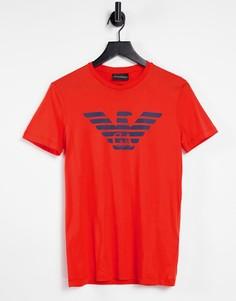 Красная футболка с логотипом в виде орла на груди Emporio Armani-Красный