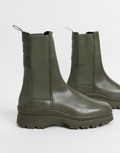 Кожаные ботинки челси цвета хаки на массивной подошве с уплотненной вставкой на щиколотке ASOS DESIGN-Зеленый цвет