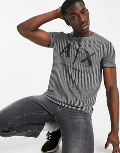 Черная футболка в полоску с логотипом Armani Exchange-Черный цвет