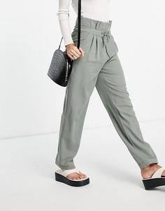Зеленые классические брюки с присборенной талией Y.A.S-Зеленый цвет
