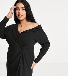 Черное платье-рубашка мини с запахом и спущенным плечом ASOS DESIGN Curve-Черный цвет