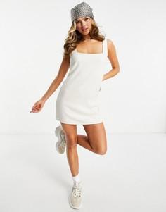 Бежевое льняное платье мини в стиле 90-х ASOS DESIGN-Нейтральный