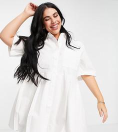 Белое плиссированное платье-рубашка мини COLLUSION Plus-Белый