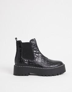 Массивные ботинки челси черного цвета скрокодиловым принтом Steve Madden Veerly-Черный