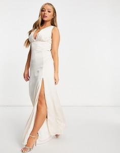 Свадебное атласное платье макси кремового цвета с разрезом TFNC-Розовый цвет