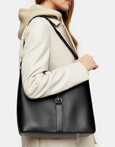 Черная сумка-тоут с двойным ремешком ипряжкой Topshop-Черный цвет
