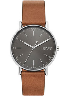 Швейцарские наручные мужские часы Skagen SKW6578. Коллекция Leather