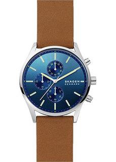 Швейцарские наручные мужские часы Skagen SKW6732. Коллекция Leather
