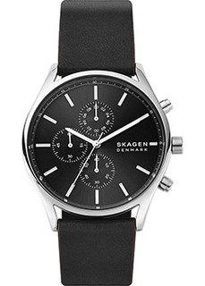Швейцарские наручные мужские часы Skagen SKW6677. Коллекция Leather