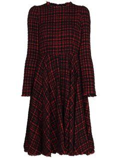 Dolce & Gabbana твидовое платье миди со складками