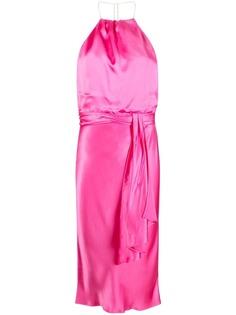 LIU JO атласное длинное платье миди с вырезом халтер