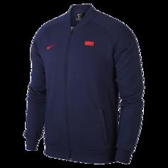 Мужская футбольная куртка из флиса FFF - Синий Nike