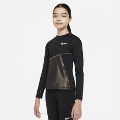 Футболка для тренинга для девочек школьного возраста Nike Pro Warm - Черный