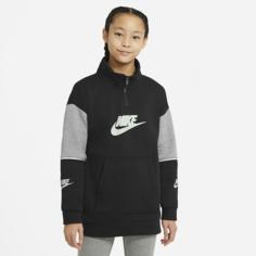 Футболка с молнией на половину длины для девочек школьного возраста Nike Sportswear - Черный
