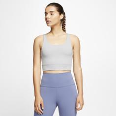 Женская укороченная футболка из ткани Infinalon Nike Yoga Luxe - Серый