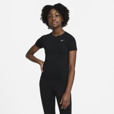 Футболка с коротким рукавом для девочек школьного возраста Nike Pro - Черный