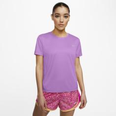 Женская беговая футболка с коротким рукавом Nike Miler - Пурпурный