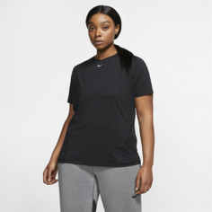 Женская сетчатая футболка Nike Pro (большие размеры) - Черный