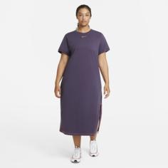 Платье-макси Nike Sportswear Icon Clash (большие размеры) - Пурпурный