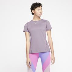 Женская футболка с коротким рукавом для тренинга Nike Pro - Пурпурный