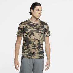 Мужская футболка с камуфляжным принтом для тренинга Nike Dri-FIT - Зеленый