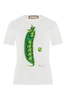 Хлопковая футболка с принтом в виде гороха Gucci