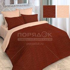 Постельное белье Love Story 2-спальное полисатин жаккард (простыня 180х215 см, 2 наволочки 70х70 см, пододеяльник 175х215 см) персиково-шоколадное
