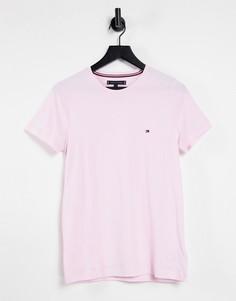 Светло-розовая эластичная футболка узкого кроя с логотипом Tommy Hilfiger-Розовый цвет