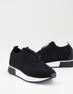 Черные беговые кроссовки на молнии River Island-Черный цвет