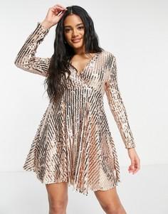 Золотистое платье с короткой расклешенной юбкой, запахом спереди и пайетками Club L London-Золотистый