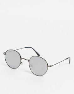 Круглые серебристые солнцезащитные очки RiverIsland-Серебристый